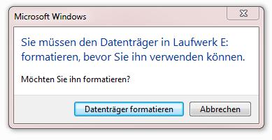 Fehlermeldung: Wenn der USB Stick nicht mehr lesbar ist!